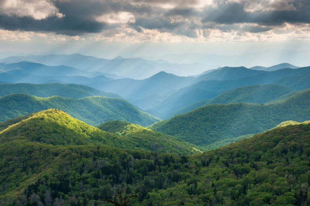 Aerial Photo of the Blue Ridge Mountains on a Helicopter Tour.